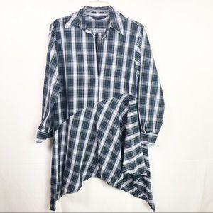 Zara | Women's Asymmetric Checkered Tunic
